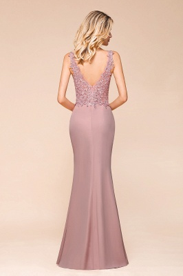 Charming 3D Lace Appliques Mermaid Prom Dress Sleeveless Floor Length Side Slit Evening Gown_6