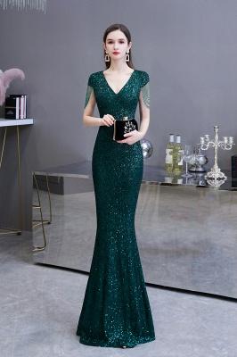 Shining Sequined Emerald Green Mermaid Cap sleeve Long Prom Dress_3
