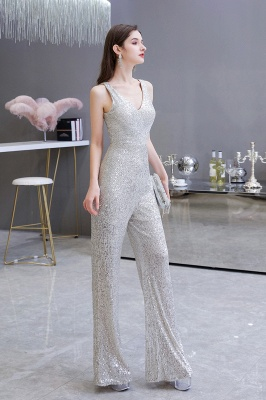 Sexy Shining V-neck Silver Sequin Sleeveless Prom Jumpsuit_7