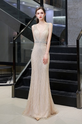 Sexy Mermaid V-neck Silver Mermaid Prom Dress_11