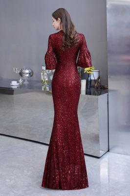 Блестящее платье для выпускного с длинными рукавами и русалкой_8