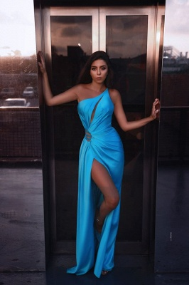 Elegant Irregular Collar Sleeveless Tight Prom Dresses With Front Split | Blue Party Gowns_1
