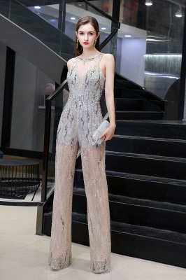 Sparkle Illusion High neck See-through Prom Jumpsuit_3
