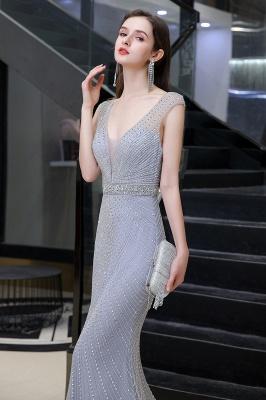 Sexy Mermaid V-neck Silver Mermaid Prom Dress_8
