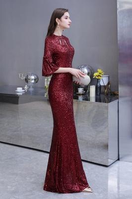 Glittering Half Sleeves Keyhole Mermaid Long Burgundy Prom Dress_9