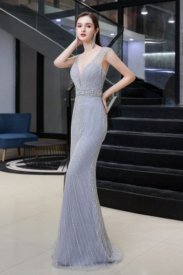 Sexy Mermaid V-neck Silver Mermaid Prom Dress_5