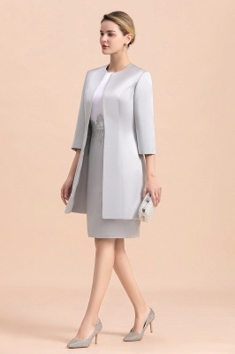 Silver two-pieces round neck Short Fall Mother Of the Bride Dress_6