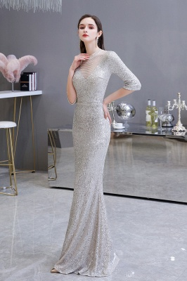 Gorgeous Silver Long sleeves Long Prom Dress_3