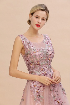 Sleeveless Crew Neck Tulle Floral Appliques Evening Party Dress Floor Length Aline Party Dress_6