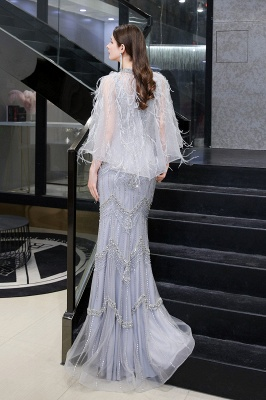 Gorgeous Silver Feather Cape Mermaid Sparkle Prom Dress_17