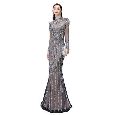 Luxury Sparkle Cap sleeves High neck Beads Long Prom Dresses_11