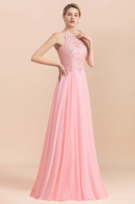 Modest Pink Pears Beaded A-line Halter Bridesmaid Dresses_18