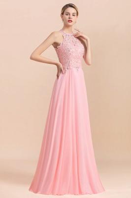 Bescheidene rosa Birnen Perlen A-Linie Halfter Brautjungfernkleider_18