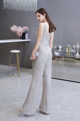 Sexy Shining V-neck Silver Sequin Sleeveless Prom Jumpsuit_4