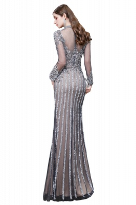 Luxury Sparkle Cap sleeves High neck Beads Long Prom Dresses_15