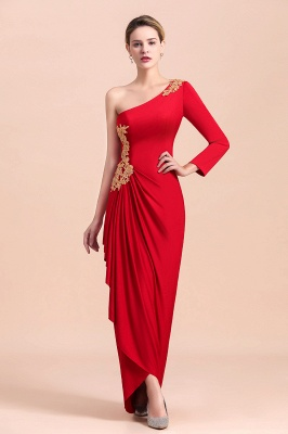 One shoulder long sleeves red pleats Plus size Mother of the bride dress_7