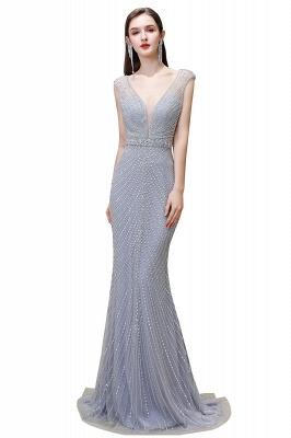 Sexy Mermaid V-neck Silver Mermaid Prom Dress_2