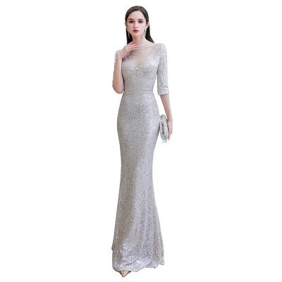 Lindo prata mangas compridas barato longo vestido de baile_1