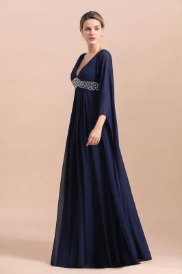 Azul marino oscuro Escote en V profundo Cintura alta Una línea Cinturón moldeado Vestidos para madre_4