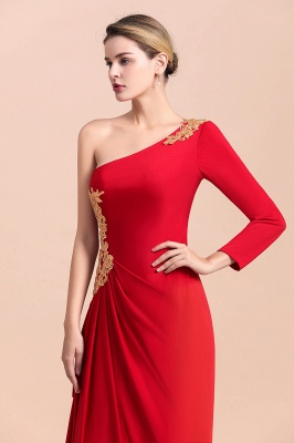 One shoulder long sleeves red pleats Plus size Mother of the bride dress_8