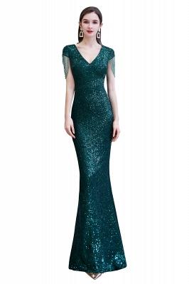 Shining Sequined Emerald Green Mermaid Cap sleeve Long Prom Dress_1