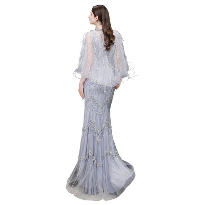 Gorgeous Silver Feather Cape Mermaid Sparkle Prom Dress_18