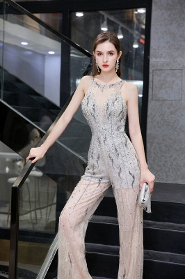 Sparkle Illusion High neck See-through Prom Jumpsuit_9