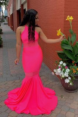 Simple Sleeveless Floor Length Pink Mermaid Prom Dresses_2