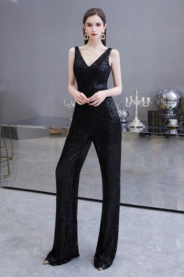 Sexy Shining V-neck Silver Sequin Sleeveless Prom Jumpsuit_13