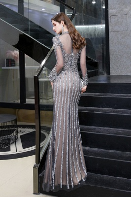 Luxury Sparkle Cap sleeves High neck Beads Long Prom Dresses_10