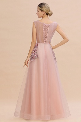 Sleeveless Crew Neck Tulle Floral Appliques Evening Party Dress Floor Length Aline Party Dress_7
