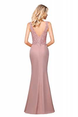 Charming 3D Lace Appliques Mermaid Prom Dress Sleeveless Floor Length Side Slit Evening Gown_8