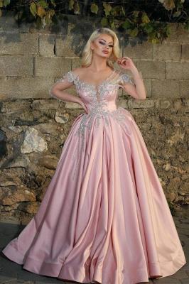 Glamorous Princess V Neck manches longues robes de bal avec des perles | Robes de bal roses pas chères_1