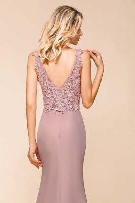 Charming 3D Lace Appliques Mermaid Prom Dress Sleeveless Floor Length Side Slit Evening Gown_7