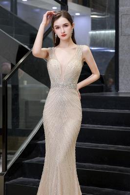 Sexy Mermaid V-neck Silver Mermaid Prom Dress_17