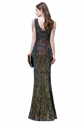 Sparkle V-neck High split Sleeveless Black Evening Dress Online_5