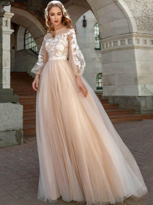 Chic Appliques Long Sleeve A-line Wedding Dresses | Pleated Tulle Floor Length Bridal Gowns_1