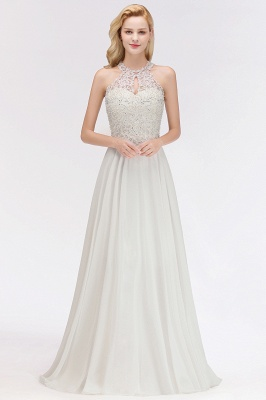 Modest Pink Pears Beaded A-line Halter Bridesmaid Dresses_1