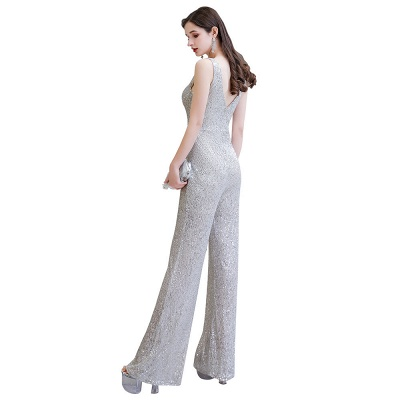 Sexy Shining V-neck Silver Sequin Sleeveless Prom Jumpsuit_27