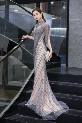 Cap sleeves High neck Sparkle Beads Long Prom Dresses Online_5