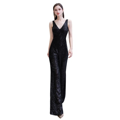 Sexy Shining V-neck Silver Sequin Sleeveless Prom Jumpsuit_1