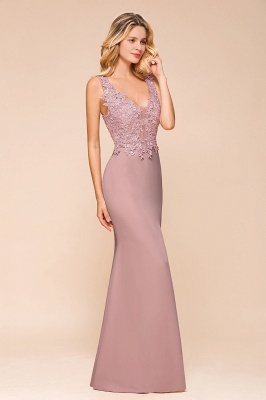Charming 3D Lace Appliques Mermaid Prom Dress Sleeveless Floor Length Side Slit Evening Gown_5