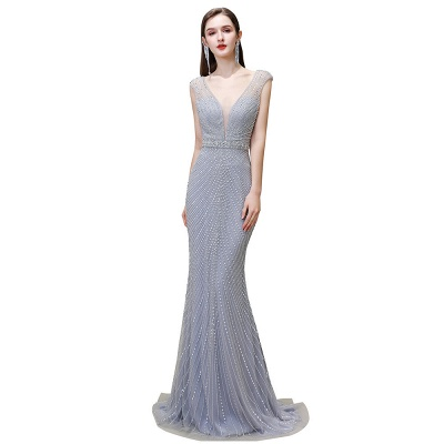Sexy Mermaid V-neck Silver Mermaid Prom Dress_25