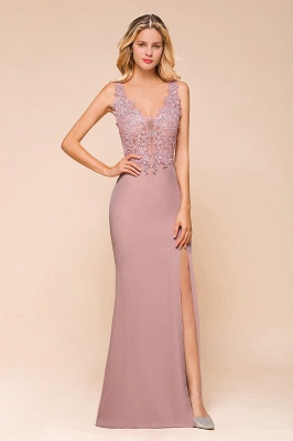 Charming 3D Lace Appliques Mermaid Prom Dress Sleeveless Floor Length Side Slit Evening Gown_4