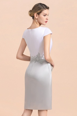 Silver two-pieces round neck Short Fall Mother Of the Bride Dress_12