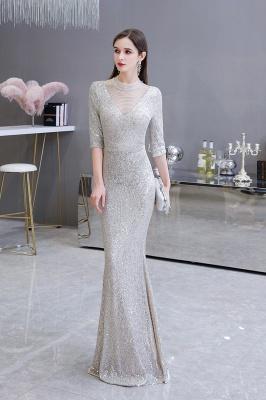 Lindo prata mangas compridas barato longo vestido de baile_5