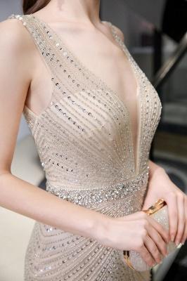 Sexy Mermaid V-neck Silver Mermaid Prom Dress_23