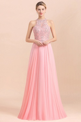 Modest Pink Pears Beaded A-line Halter Bridesmaid Dresses_22