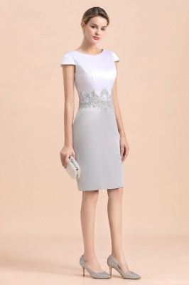 Silver two-pieces round neck Short Fall Mother Of the Bride Dress_9