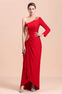 One shoulder long sleeves red pleats Plus size Mother of the bride dress_4